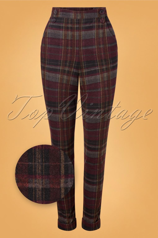 1950s Pants & Jeans- High Waist, Wide Leg, Capri, Pedal Pushers 50s Brigitte Bo Pants in Wine and Grey £70.08 AT vintagedancer.com