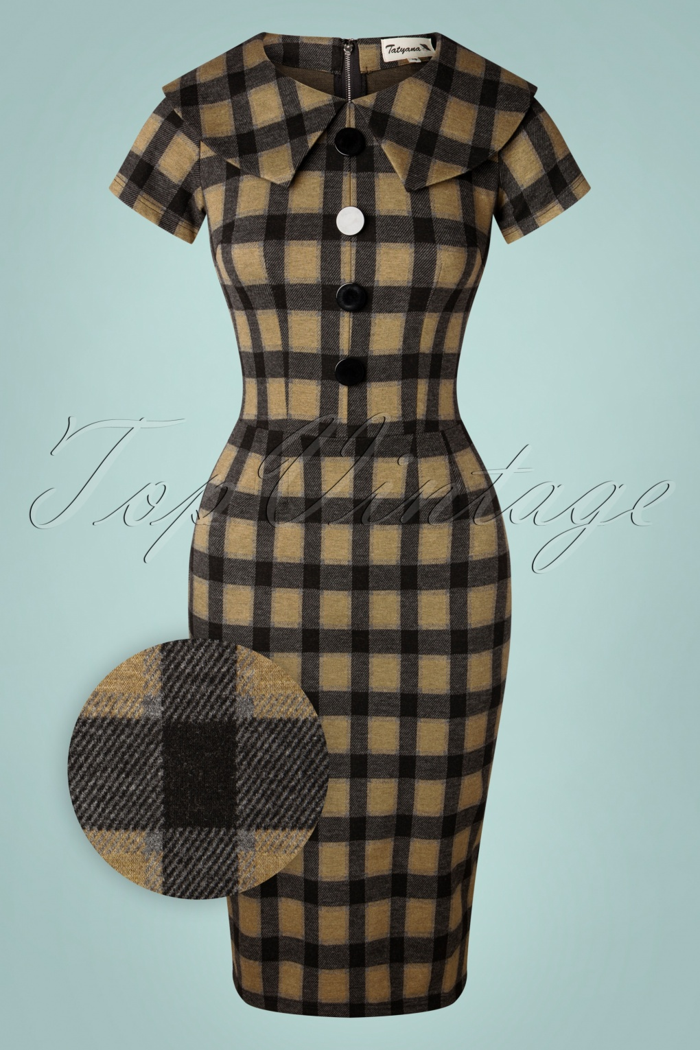 Wiggle Dresses | Pencil Dresses 40s, 50s, 60s 50s Rita Check Pencil Dress in Beige and Black £109.82 AT vintagedancer.com