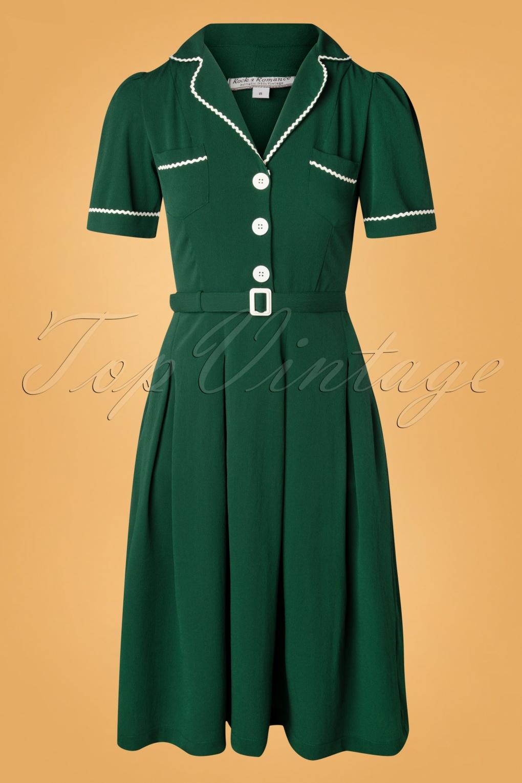 Vintage Tea Dresses, Floral Tea Dresses, Tea Length Dresses 40s Kitty Shirtwaister Dress in Green £45.42 AT vintagedancer.com