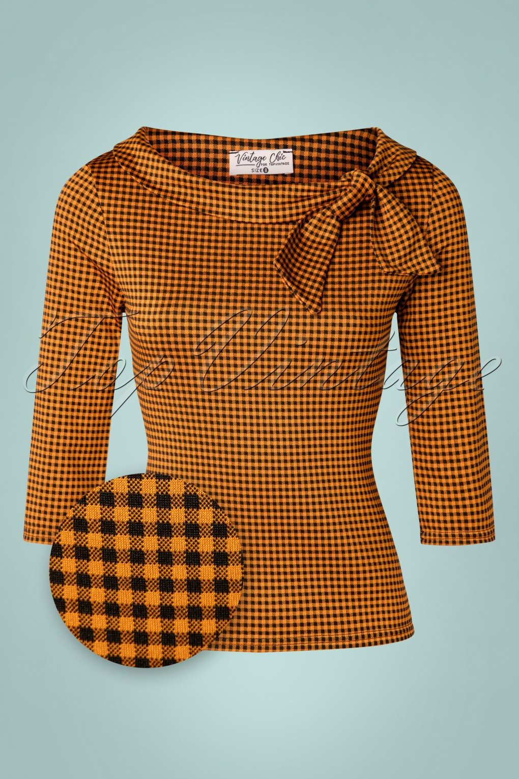 60s Shirts, T-shirts, Blouses, Hippie Shirts 50s Belle Bow Top in Cinnamon Gingham £31.31 AT vintagedancer.com