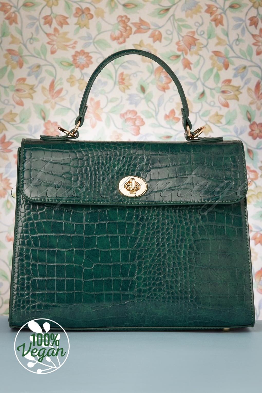 1950s Handbags, Purses, and Evening Bag Styles 50s Versailles Handbag in Emerald £72.06 AT vintagedancer.com