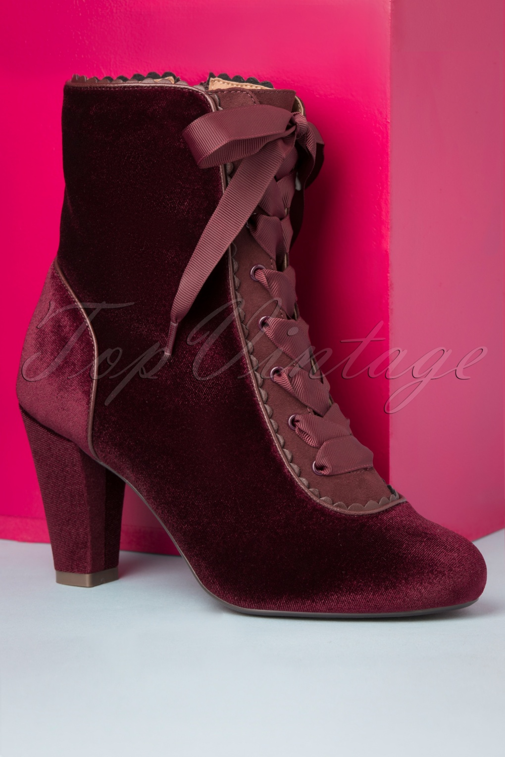 History of Victorian Boots & Shoes for Women 70s Victoria Velvet Booties in Burgundy £104.72 AT vintagedancer.com
