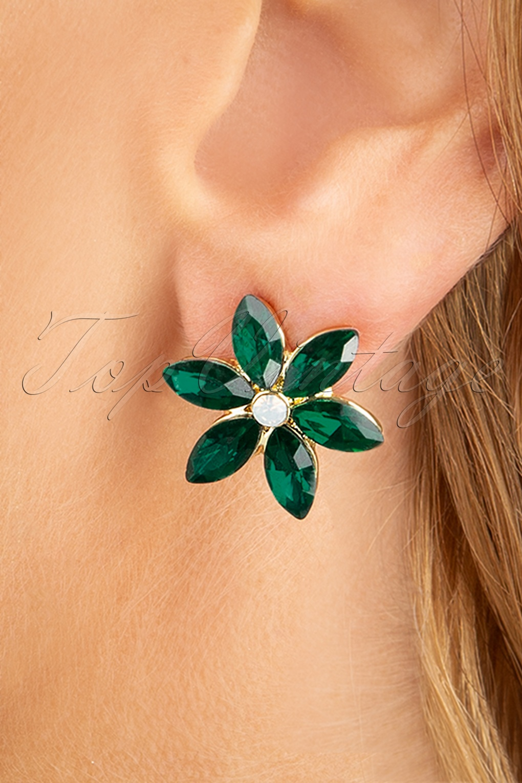 1950s Accessories | 50s Scarf, Belt, Parasol, Umbrella 50s Flower Earstuds in Emerald Green £13.30 AT vintagedancer.com