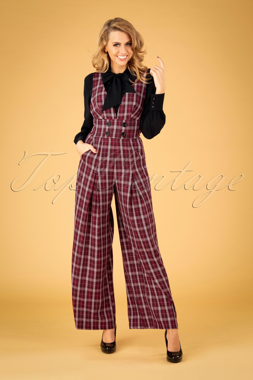 Vintage Overalls 1910s -1950s History & Shop Overalls 40s Rommana Wide Leg Jumpsuit in Burgundy £67.70 AT vintagedancer.com