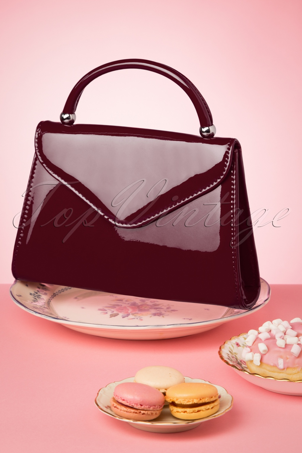 60s Fancy Dress and Quality Clothing 1960s UK 60s Lillian Lacquer Flap Bag in Dark Burgundy £24.95 AT vintagedancer.com