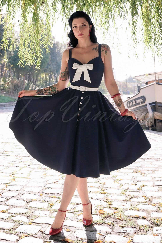 Sailor Dresses, Nautical Theme Dress, WW2 Dresses The Alexis Swing Dress in Navy £115.79 AT vintagedancer.com
