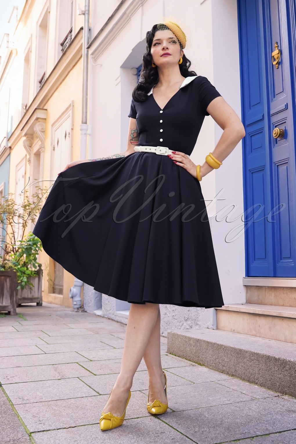 Vintage Shirtwaist Dress History The Vallea Swing Dress in Navy £124.70 AT vintagedancer.com