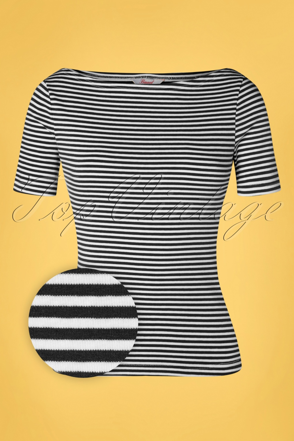 50s Shirts & Tops 50s Sweet Candy Jersey Top in Black £21.34 AT vintagedancer.com