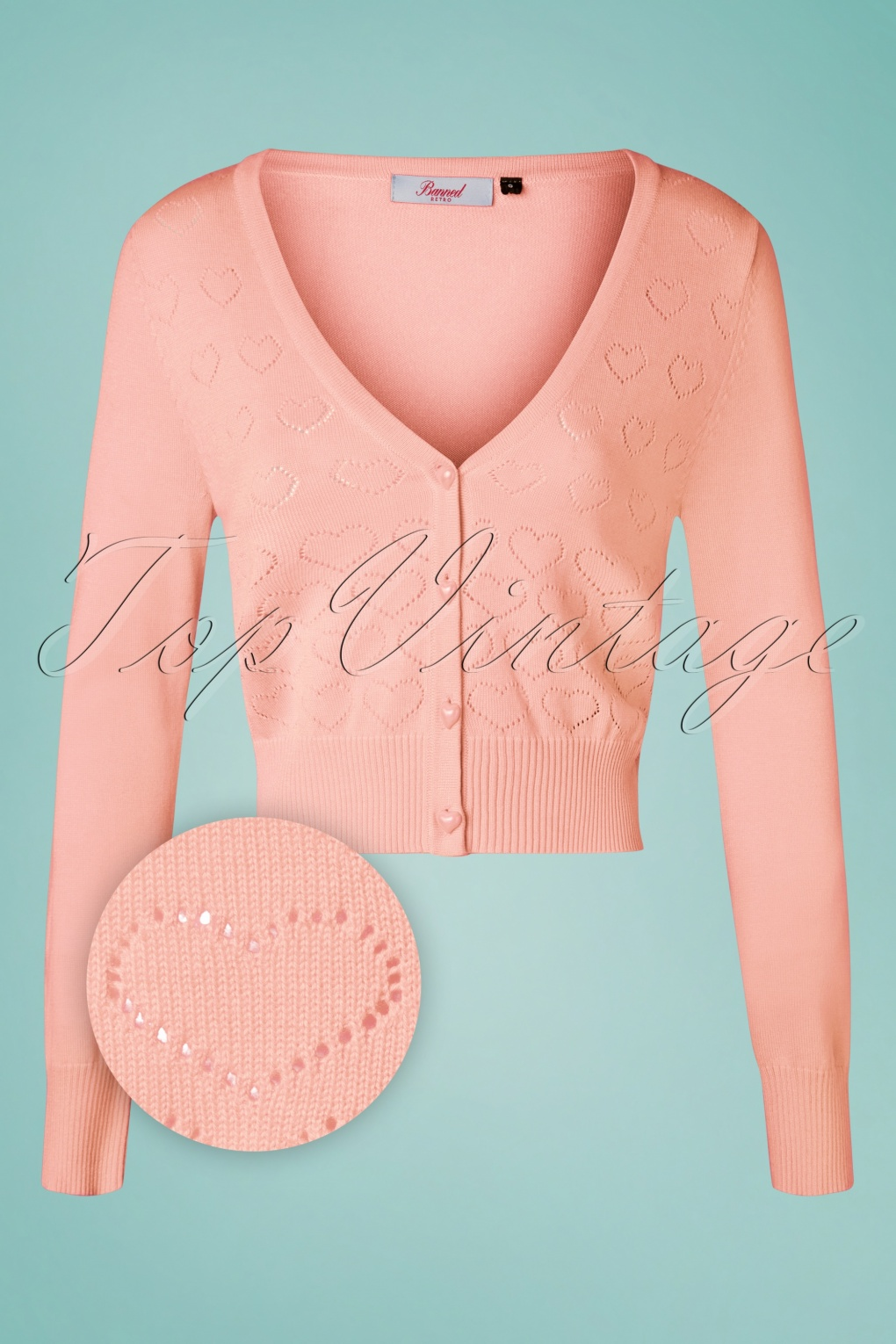 1950s Sweaters, 50s Cardigans, 50s Jumpers 50s Love Dream Cardigan in Blush Pink £38.27 AT vintagedancer.com