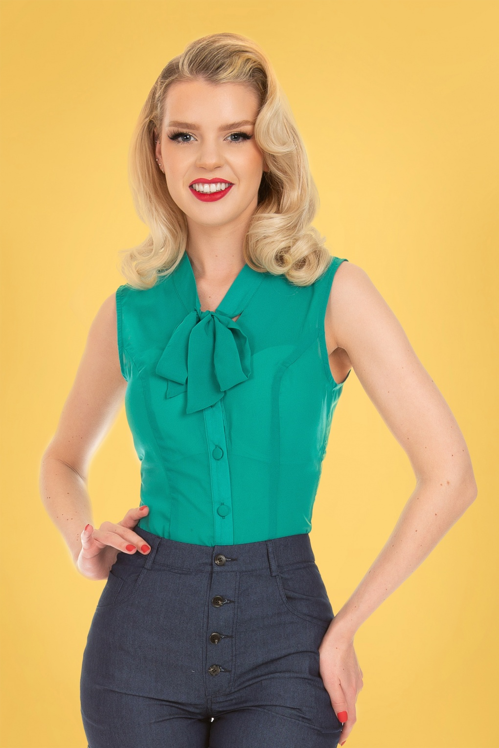 1950s Style Clothing & Fashion 50s Celestine Blouse in Teal Blue £26.69 AT vintagedancer.com