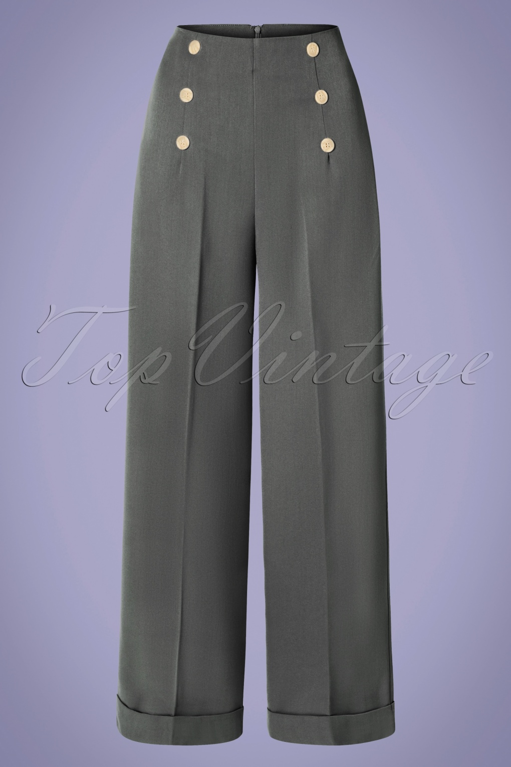 1930s Wide Leg Pants and Beach Pajamas 40s Day To Night Button Trousers in Grey £34.00 AT vintagedancer.com