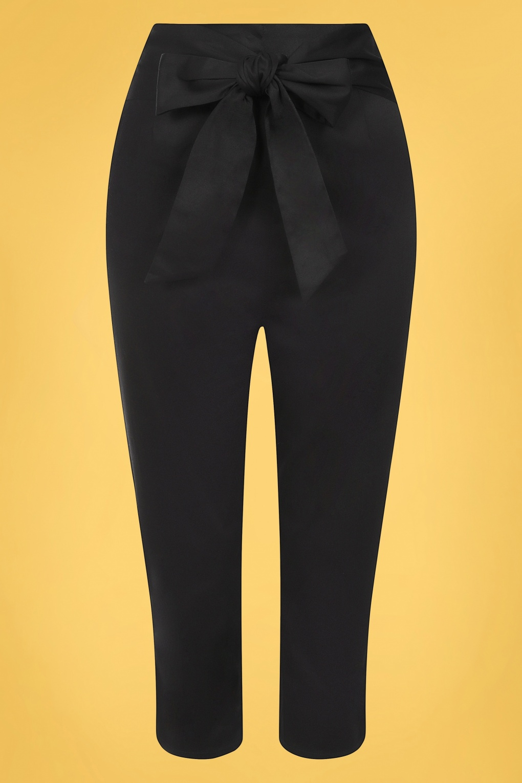 1950s Pants & Jeans- High Waist, Wide Leg, Capri, Pedal Pushers 50s Eugenia Capris in Black £38.66 AT vintagedancer.com