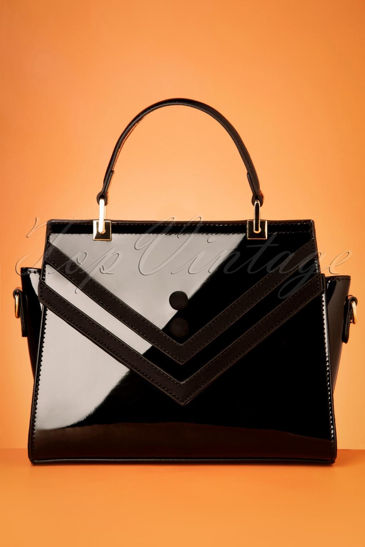 Vintage Handbags, Purses, Bags *New* 50s Serene Waters Patent Handbag in Black £24.95 AT vintagedancer.com