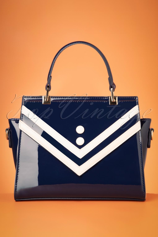 Vintage Handbags, Purses, Bags *New* 50s Serene Waters Patent Handbag in Navy £24.95 AT vintagedancer.com