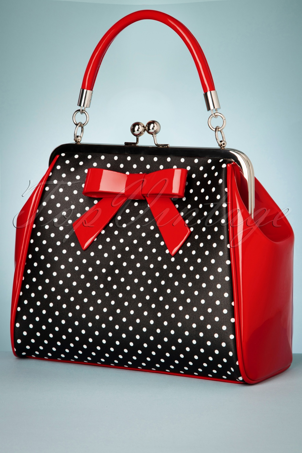 1950s Handbags, Purses, and Evening Bag Styles 50s Frances Polka Star Bag in Black and Red £38.91 AT vintagedancer.com