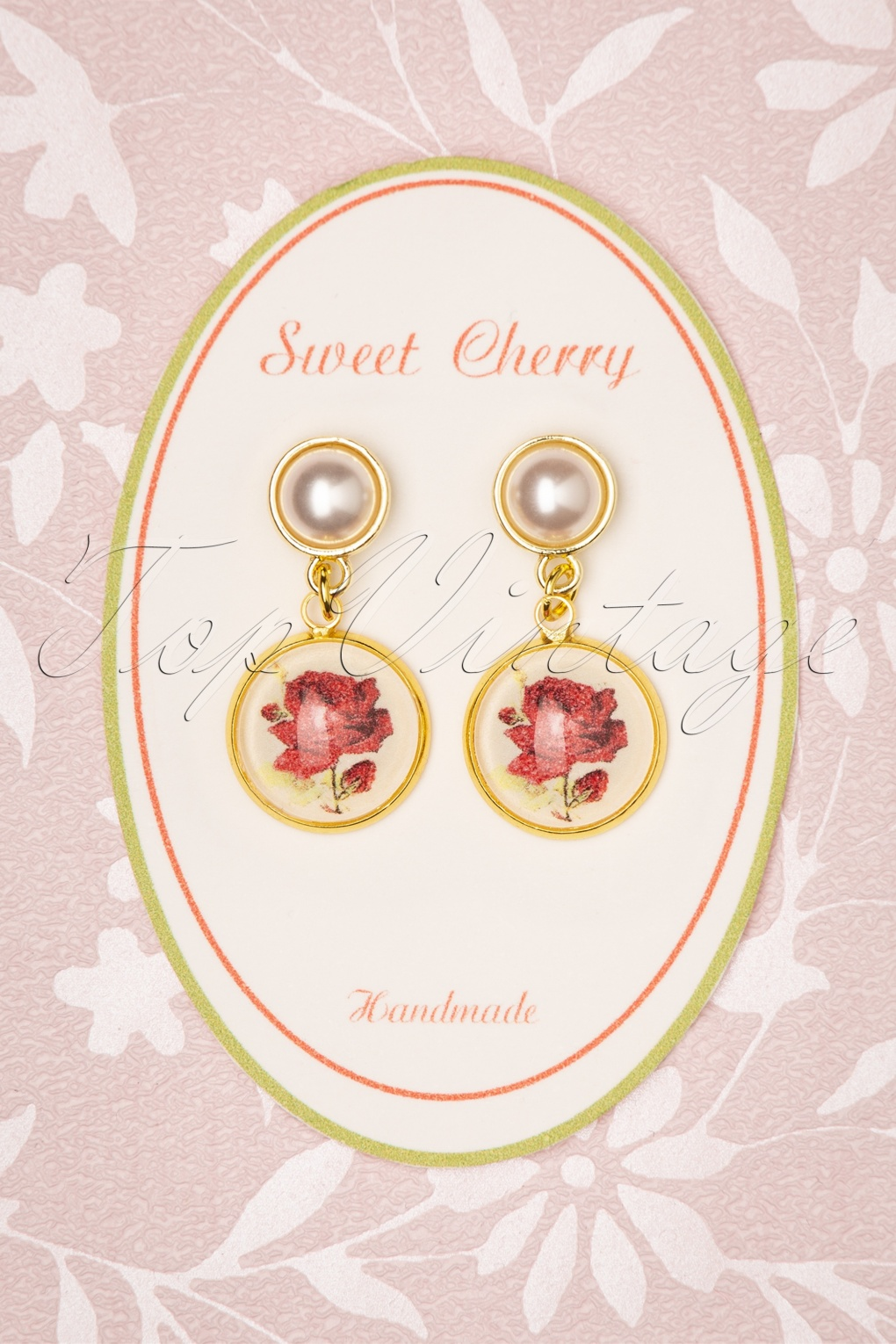 Pearl-white stained wood teardrop Rose-God Metallic Vinyl with Gold Chain Earrings