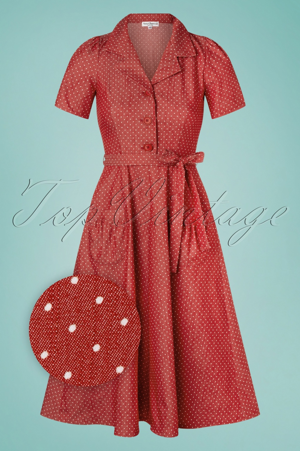 1940s Dress Styles 40s Revers Midi Dots Dress in Denim Red £19.95 AT vintagedancer.com