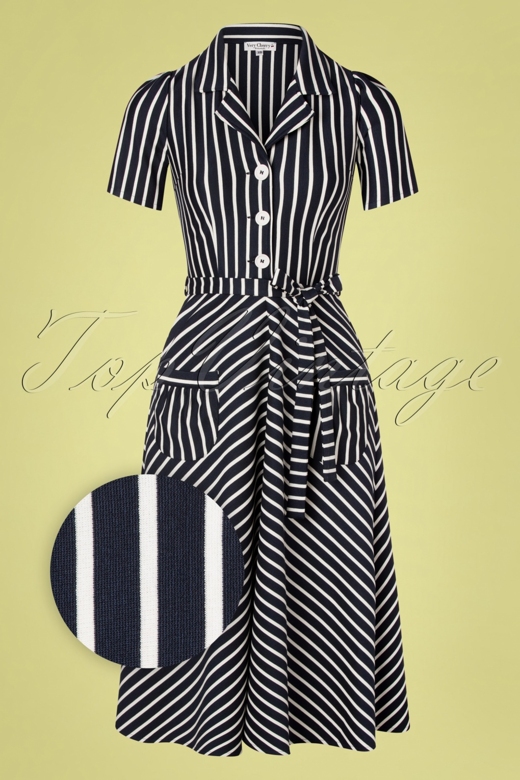 1940s Dress Styles 40s Revers Midi Dress in Navy and White Stripes £19.95 AT vintagedancer.com