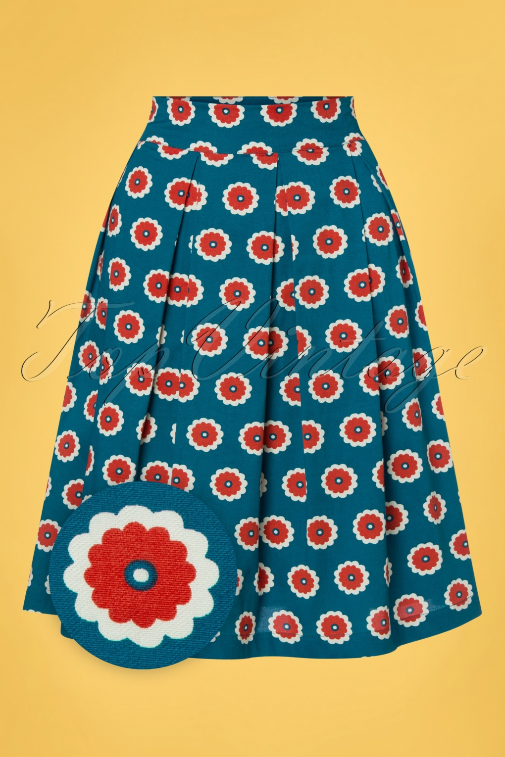 Vintage Skirts | Retro, Pencil, Swing, Boho 60s Lilly Floral Swing Skirt in Blue and Red  AT vintagedancer.com