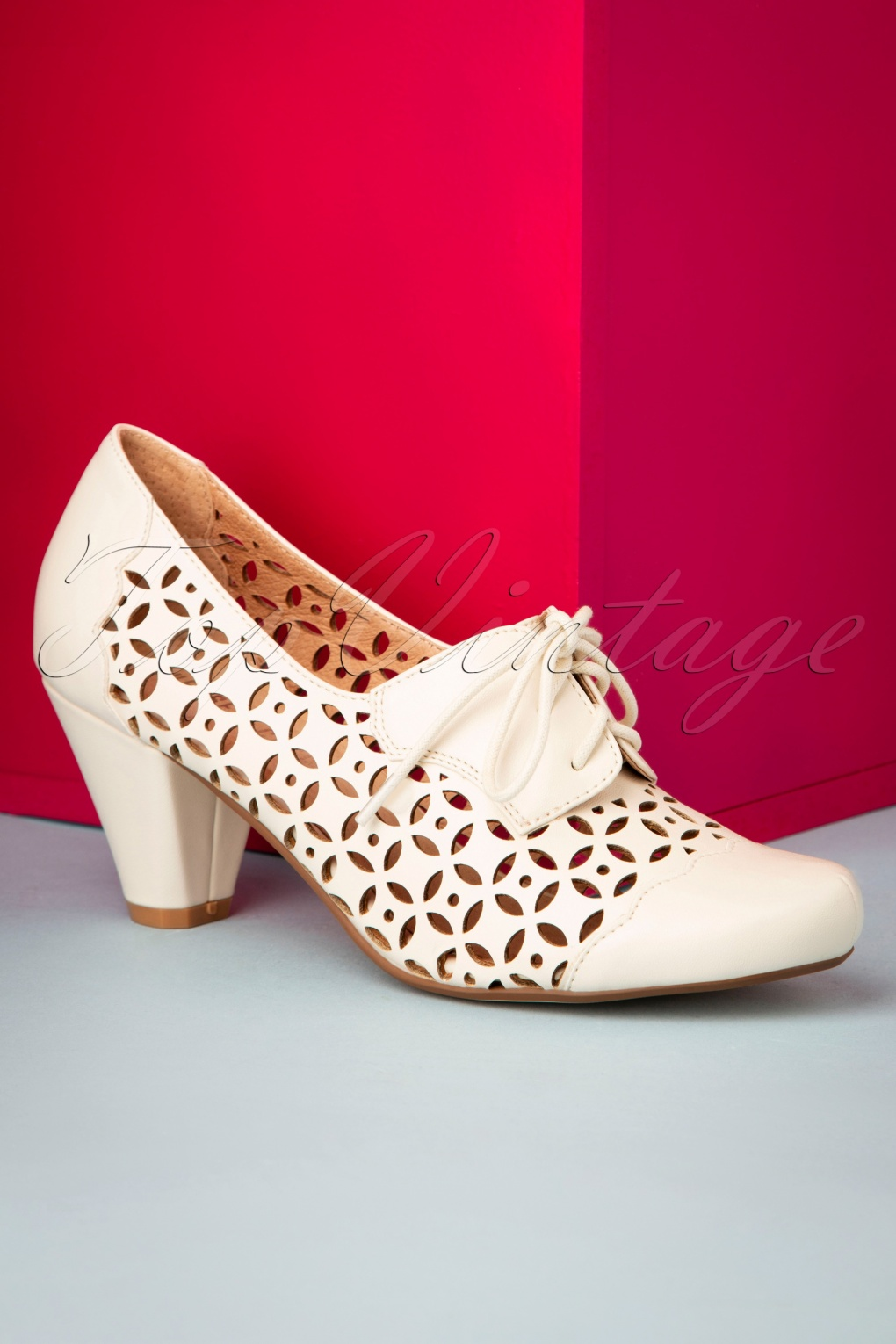 UK 1930s Dresses, Shoes, Clothing in the UK 50s Million Shoe Booties in Bone White £24.95 AT vintagedancer.com