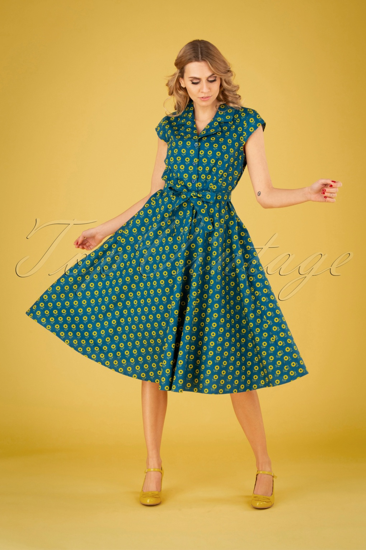 Vintage Shirtwaist Dress History 50s Sunny Sunflower Swing Dress in Teal Blue £24.95 AT vintagedancer.com
