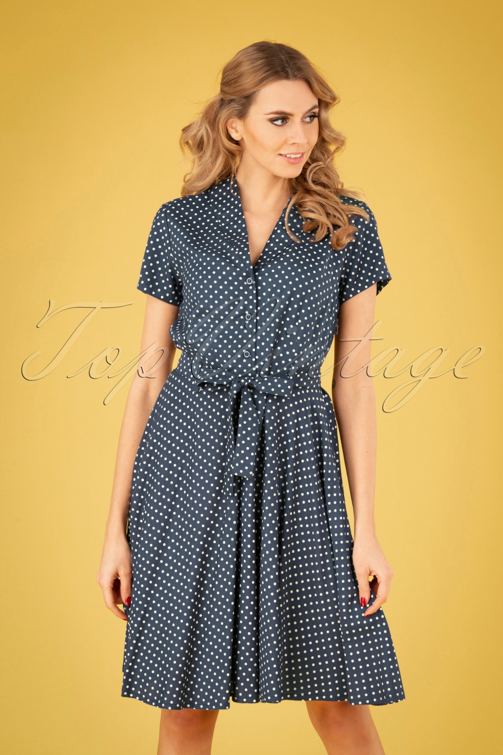 60s Dresses | 1960s Dresses Mod, Mini, Hippie 60s Hilda Polka Dot Swing Dress in Navy £24.95 AT vintagedancer.com