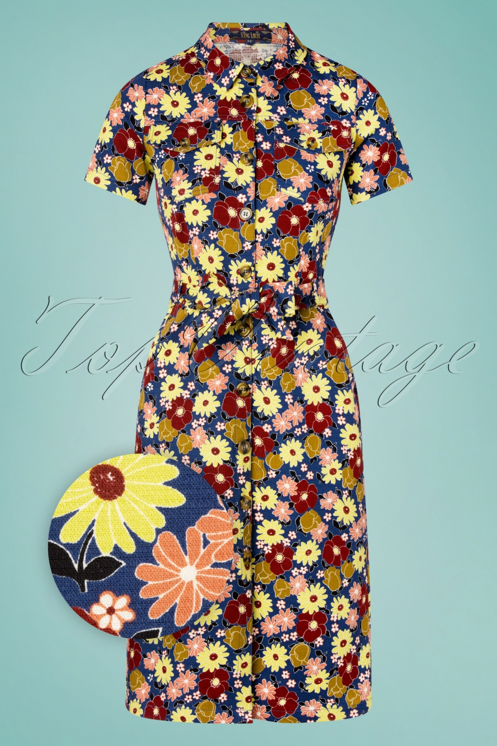 60s Dresses | 1960s Dresses Mod, Mini, Hippie 70s Katy Fortuna Dress in Bluestone Blue £19.95 AT vintagedancer.com