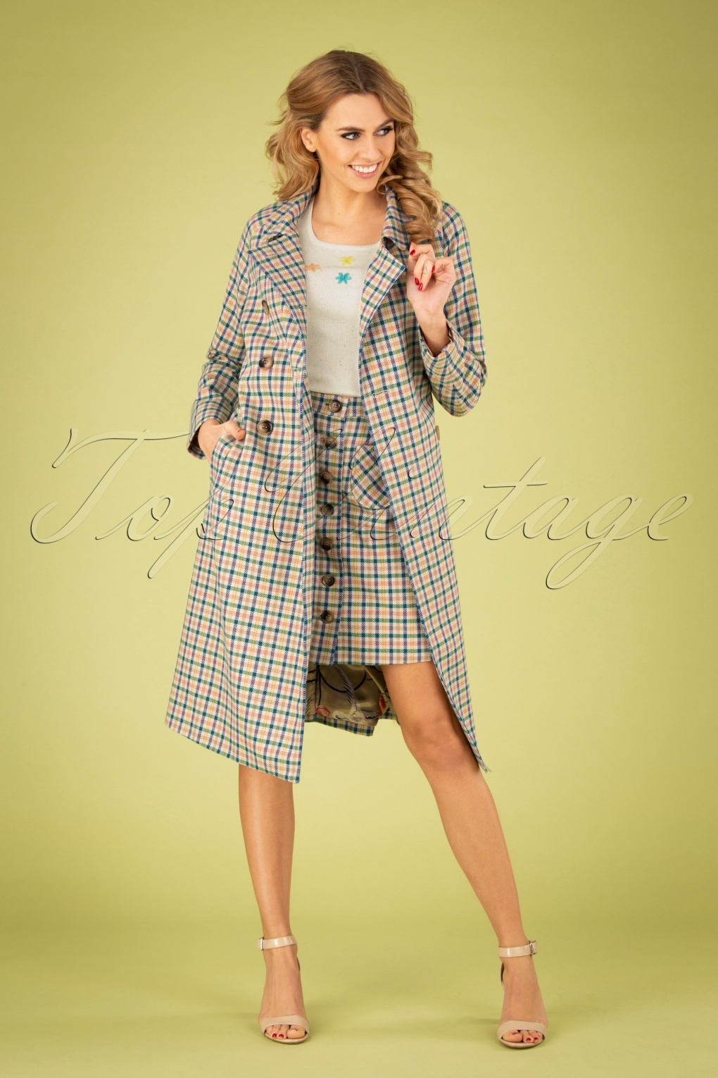 60s Fancy Dress and Quality Clothing 1960s UK 60s Edith Maverick Check Coat in Marzipan £19.95 AT vintagedancer.com