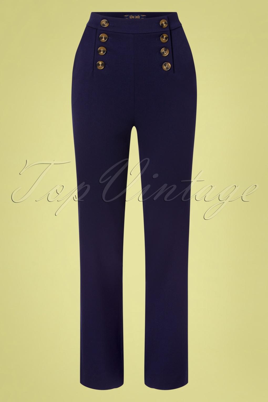 1960s Pants – Top 10 Styles for Women 60s Lara Sailor Broadway Pants in Ink Blue £24.95 AT vintagedancer.com