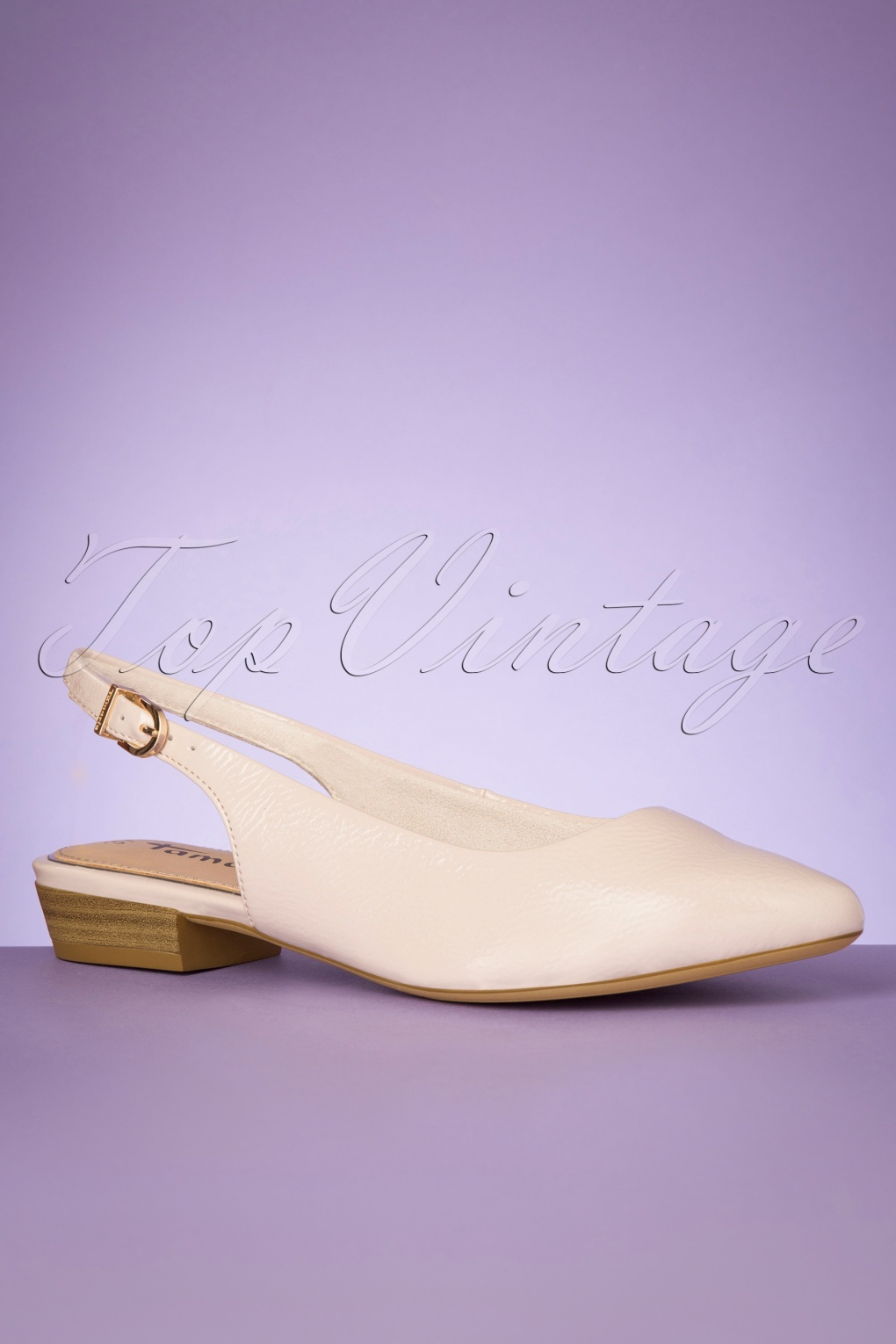 Retro Vintage Flats and Low Heel Shoes 50s Josie Patent Slingback Flats in Ivory £24.95 AT vintagedancer.com