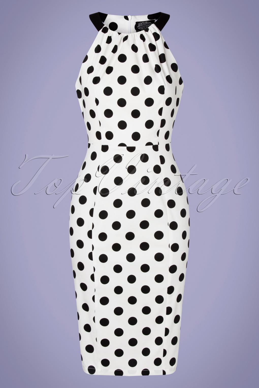 1950s Dresses, 50s Dresses | 1950s Style Dresses 50s Pearl Polkadot Wiggle Dress in White  AT vintagedancer.com