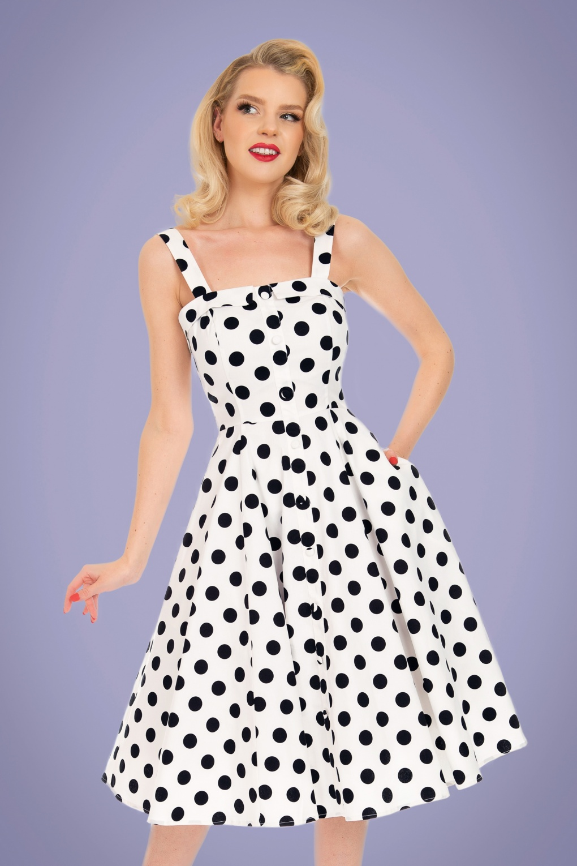 1950s Dresses, 50s Dresses | 1950s Style Dresses 50s Priscila Polkadot Swing Dress in White £24.95 AT vintagedancer.com