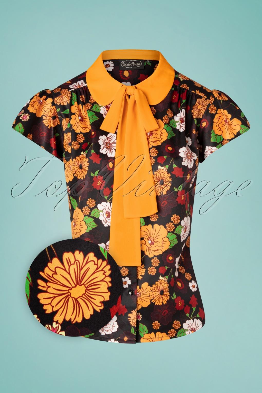 60s Shirts, T-shirts, Blouses, Hippie Shirts 60s Aurelia Floral Blouse in Black  AT vintagedancer.com
