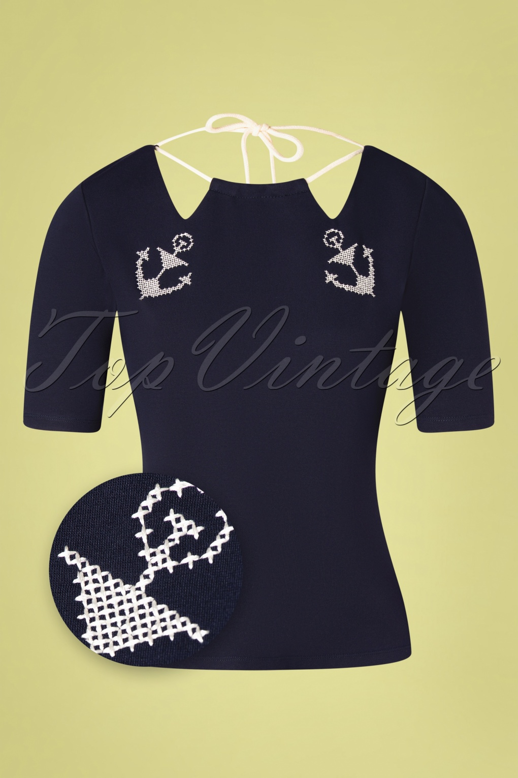 Sailor Dresses, Nautical Theme Dress, WW2 Dresses 50s Lilibeth Anchor and Rope Top in Navy  AT vintagedancer.com
