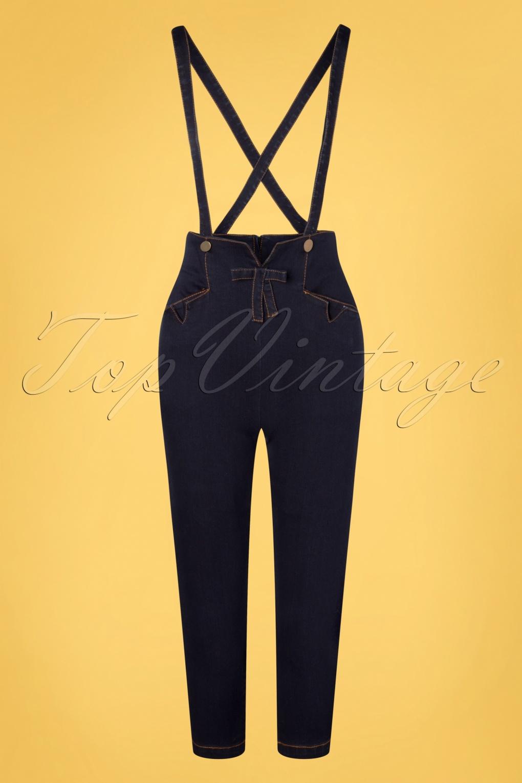 1960s Pants – Top 10 Styles for Women 50s Willa Capri Pants with Suspenders in Denim £24.95 AT vintagedancer.com