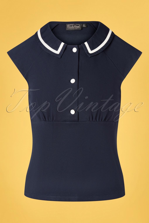 Sailor Dresses, Nautical Theme Dress, WW2 Dresses 50s Lady Front Button Top in Navy £24.95 AT vintagedancer.com