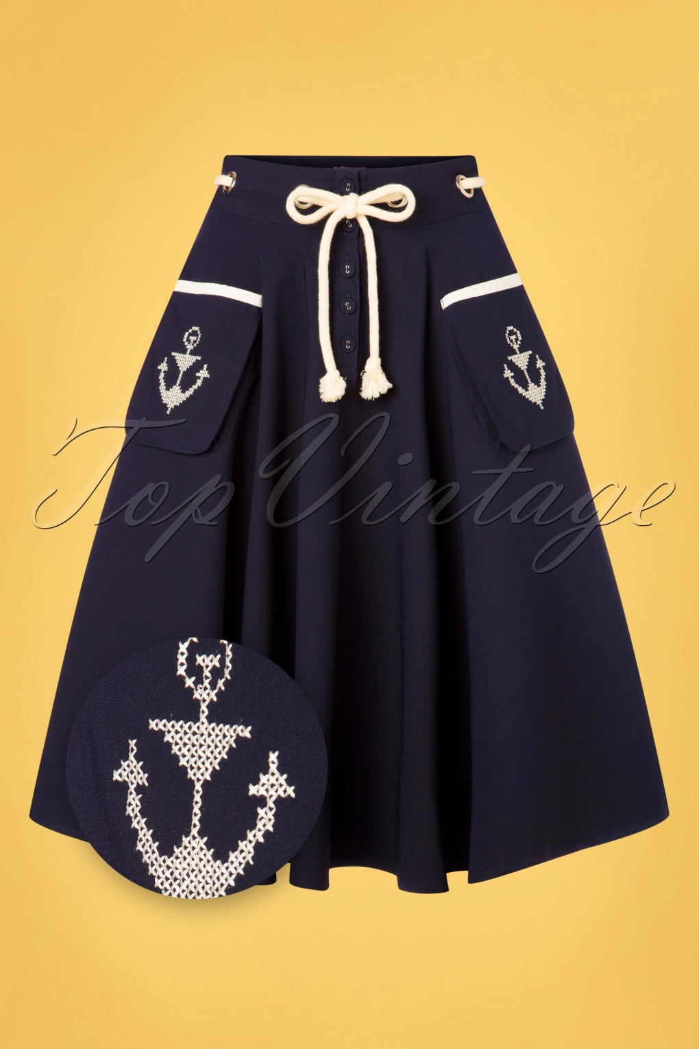 Vintage Skirts | Retro, Pencil, Swing, Boho 50s Florence Anchor And Rope Swing Skirt in Navy £24.95 AT vintagedancer.com
