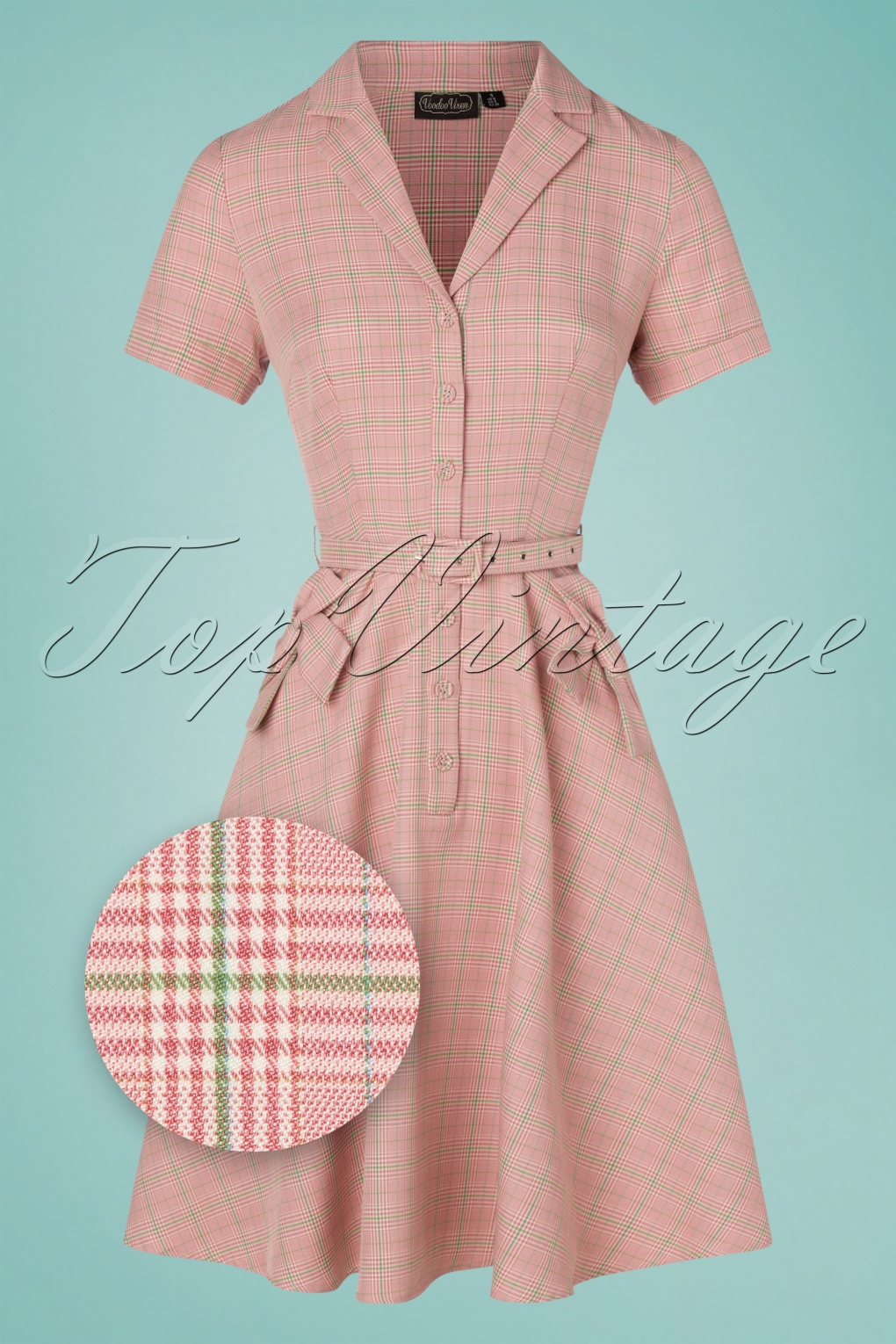 60s Mod Clothing Outfit Ideas 50s Kenzy Plaid Bow Swing Dress in Pink £24.95 AT vintagedancer.com