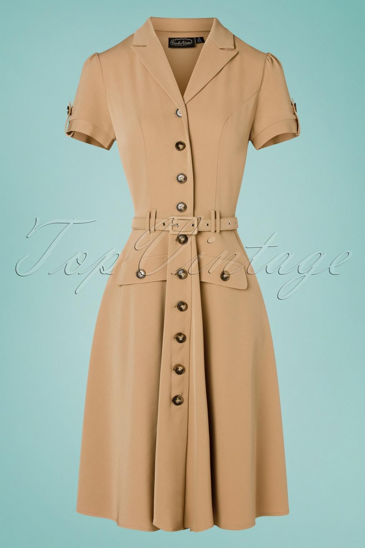 Vintage Shirtwaist Dress History 40s Ida Safari Button Down Flare Dress in Sand £59.78 AT vintagedancer.com