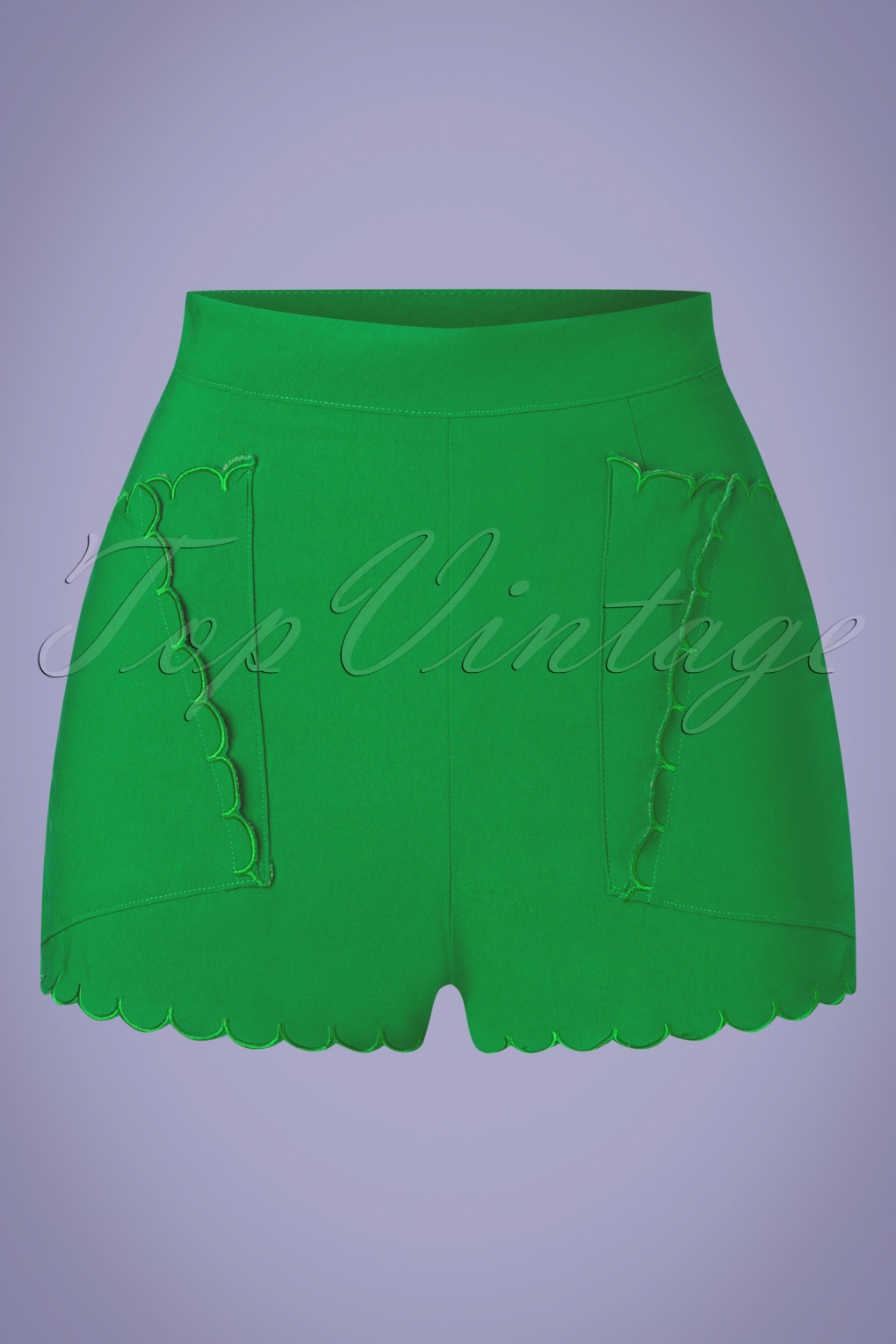 Vintage Shorts, Culottes,  Capris History 50s Lynn High Waisted Shorts in Green  AT vintagedancer.com