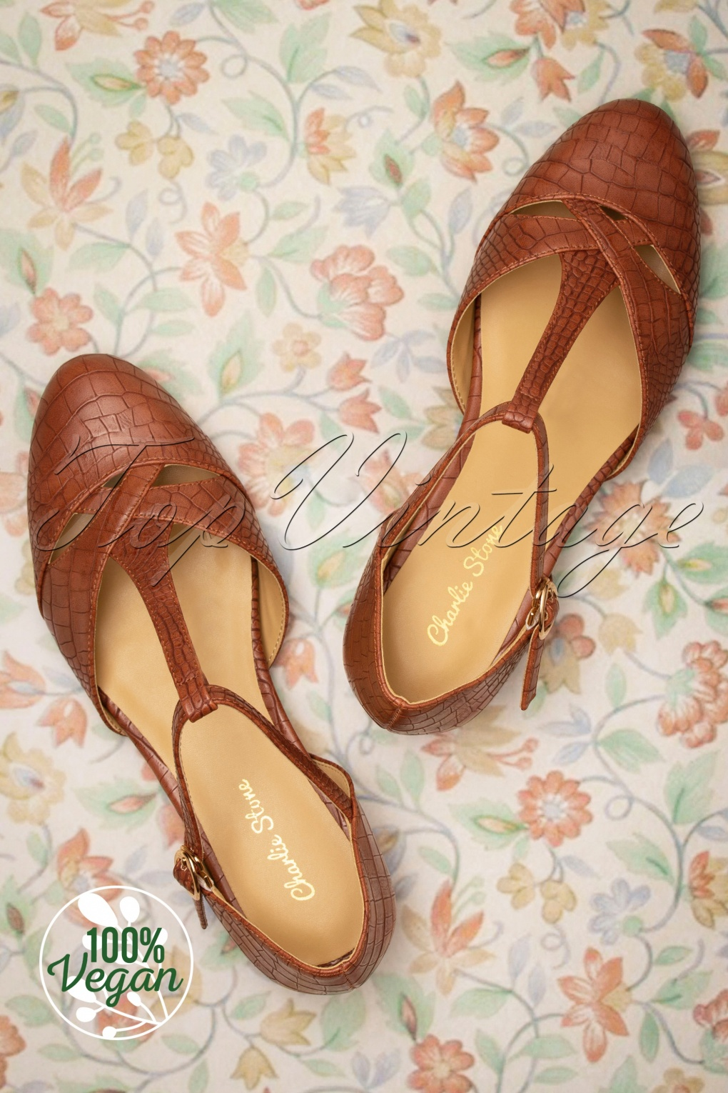 Retro Vintage Flats and Low Heel Shoes 50s Roma T-Strap Flats in Mahogany £19.95 AT vintagedancer.com