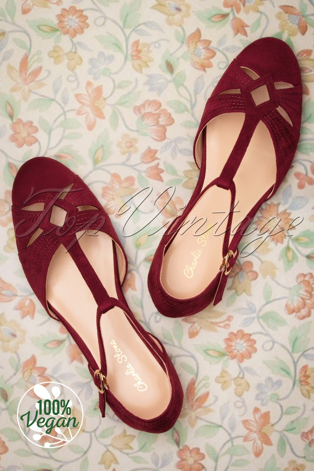 Retro Vintage Flats and Low Heel Shoes 50s London T-Strap Flats in Wine Red £19.95 AT vintagedancer.com