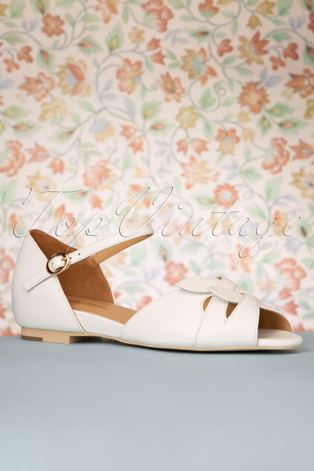 Retro Vintage Flats and Low Heel Shoes 50s Midge Peeptoe Flats in White £19.95 AT vintagedancer.com