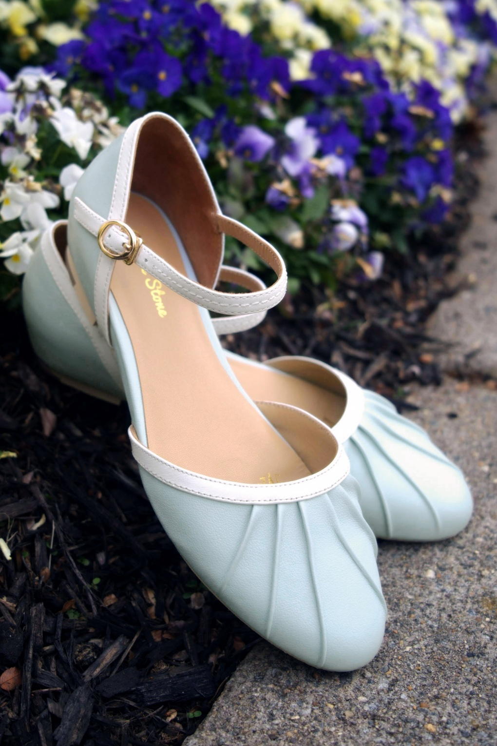 1950s Style Shoes | Heels, Flats, Boots 50s Susie Mary Jane Flats in Baby Blue £19.95 AT vintagedancer.com
