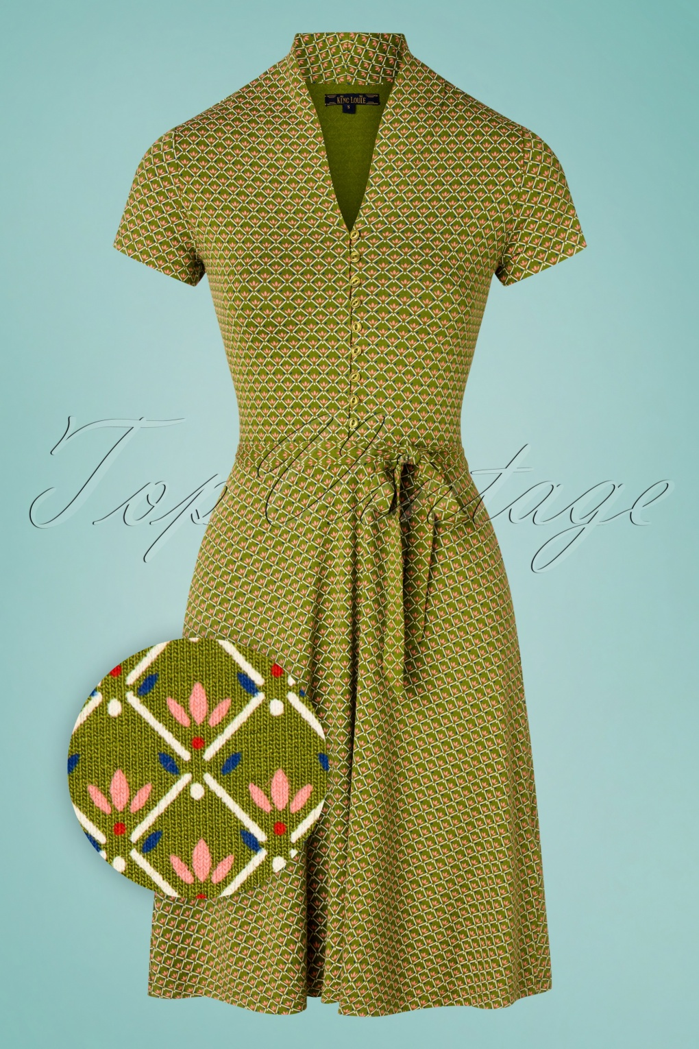 60s Dresses | 1960s Dresses Mod, Mini, Hippie 60s Emmy Fresno Dress in Posey Green £19.95 AT vintagedancer.com