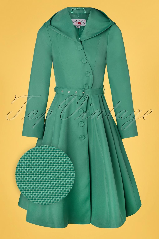 1950s Coats and Jackets History 50s Lorin Tiffany Swing Trenchcoat in Aqua £19.95 AT vintagedancer.com