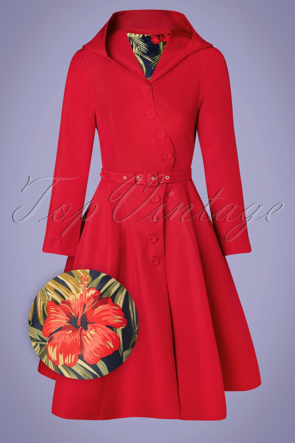 Vintage Coats & Jackets | Retro Coats and Jackets 50s Lorily Rose Swing Trenchcoat in Red and Floral £19.95 AT vintagedancer.com