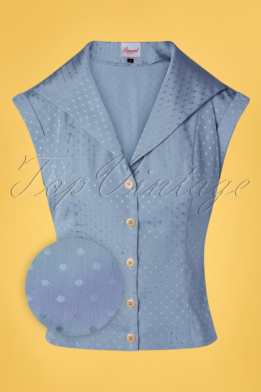 50s Shirts & Tops 40s Afternoon Tea Spot Blouse in Light Blue  AT vintagedancer.com