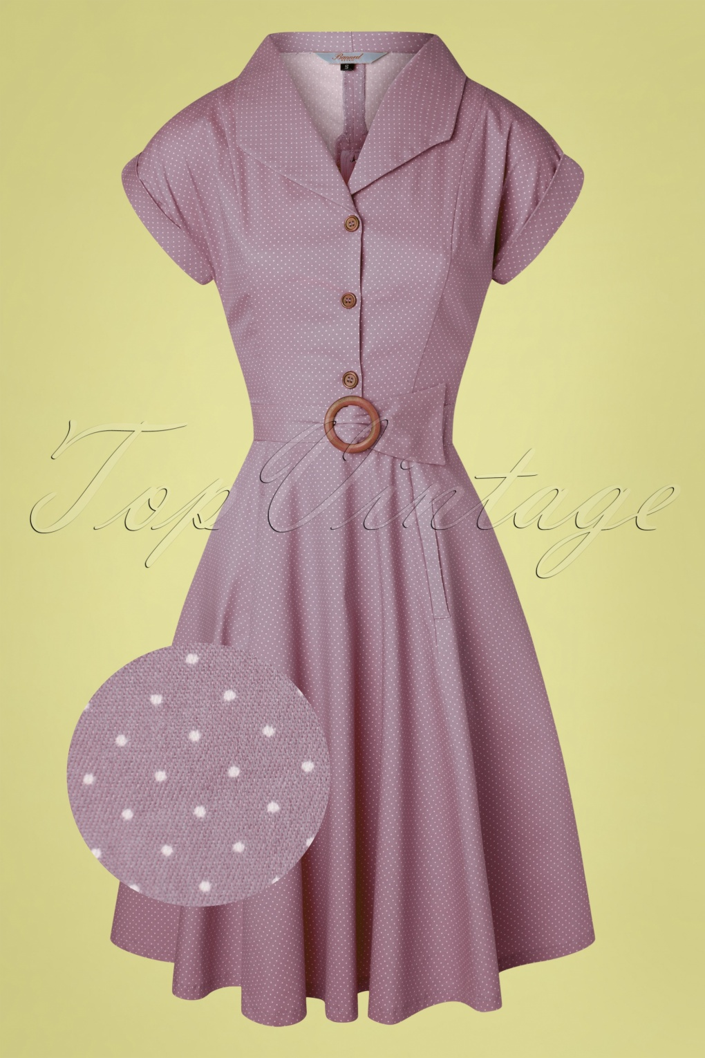 1940s Day Dress Styles, House Dresses 40s Spot Perfection Fit and Flare Swing Dress in Lilac £24.95 AT vintagedancer.com