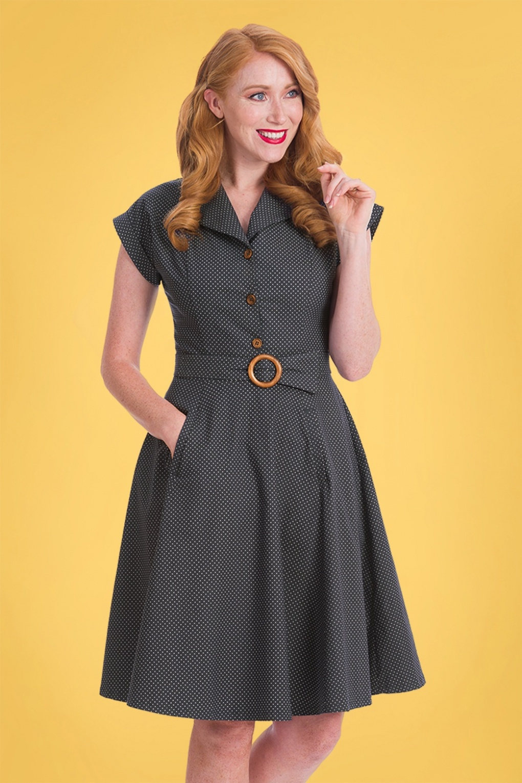 Vintage Shirtwaist Dress History 40s Spot Perfection Fit and Flare Swing Dress in Navy £24.95 AT vintagedancer.com
